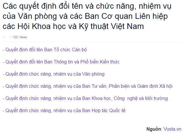 Các quyết định đổi tên và chức năng, nhiệm vụ của Văn phòng và các Ban Cơ quan Liên hiệp các Hội Khoa học và Kỹ thuật Việt Nam