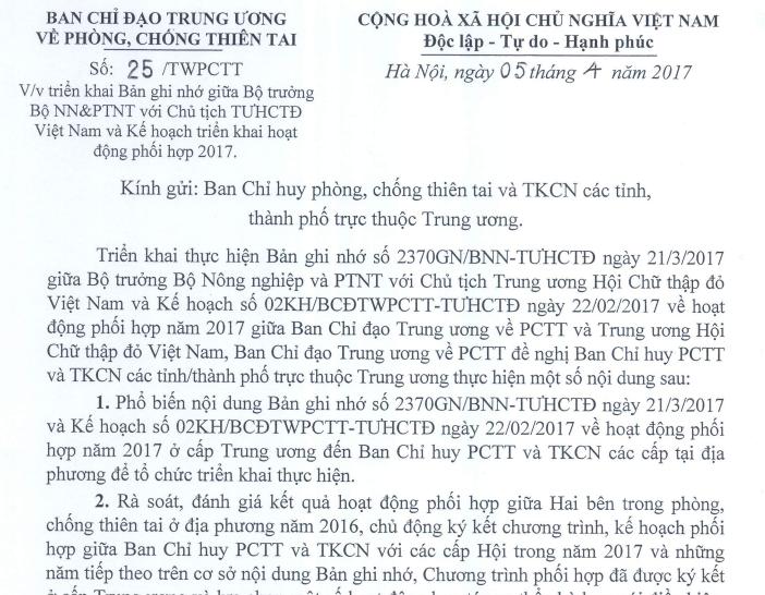 Công văn số 25/TWPCTT ngày 05/4/2017 Vv Triển khai Bản ghi nhớ và Kế hoạch phối hợp giữa Ban Chỉ đạo TWPCTT và Trung ương HCTĐ Việt Nam