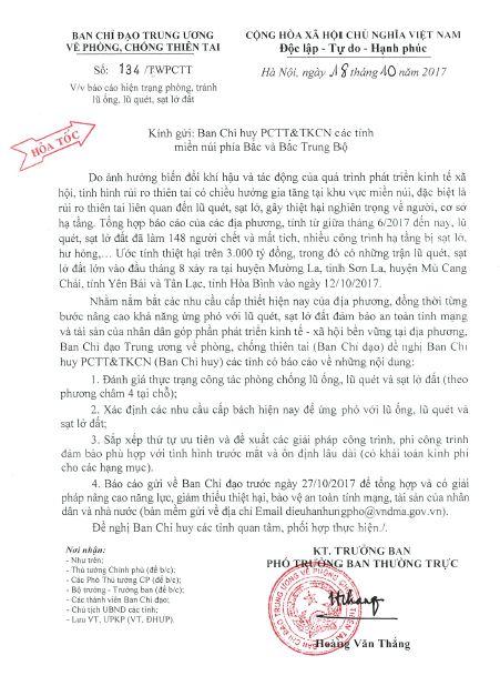 (Hỏa tốc) CV 134/TWPCTT ngày 18.10.2017 về việc báo cáo hiện trạng phòng, tránh lũ ống, lũ quét, sạt lở đất